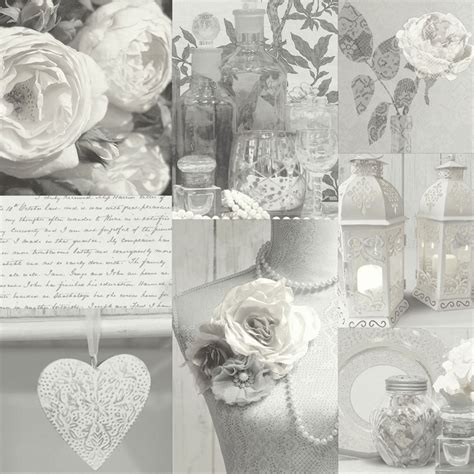 arthouse charlottle floral shabby chic wallpaper grey natural feature wall ebay