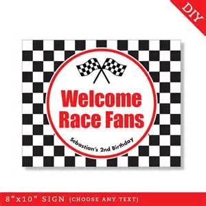 race car party personalized diy printable sign race