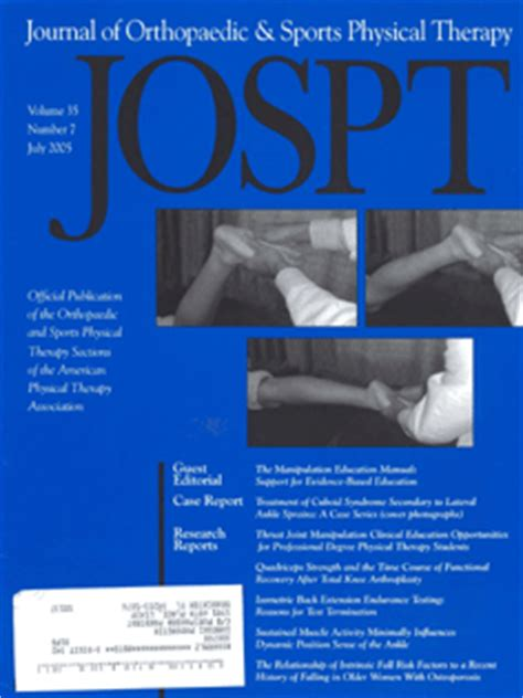 Apta Orthopedic Section by Journal Orthop Sports Physical Therapy Janetbrendas