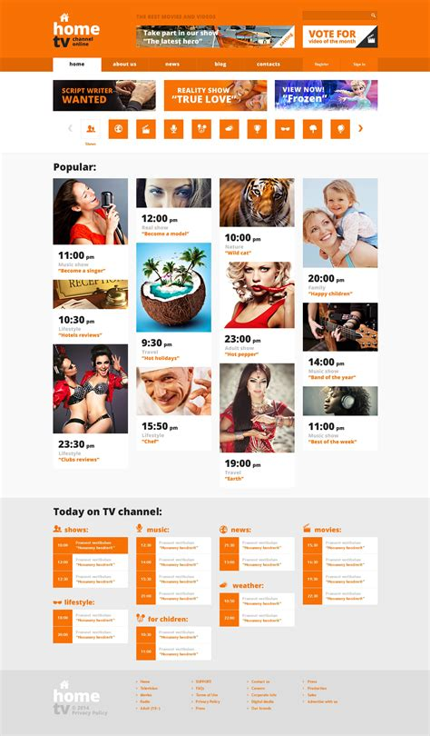 Tv Channel Responsive Website Template 50098 Television Website Template