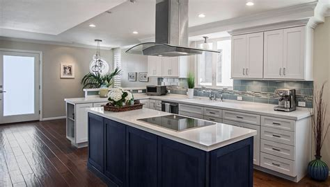 Galley Kitchen With Island by Modern Dark Blue Stained Kitchen Island With White Marble