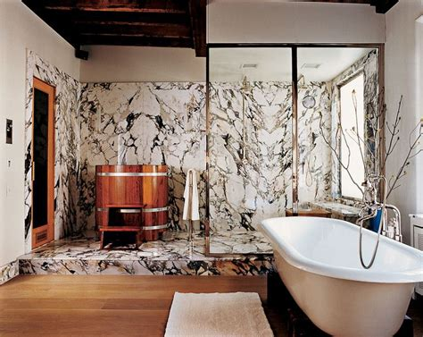 Bathroom Walls Cold A Wooden Cold Tub And Marble Walls Fill The East