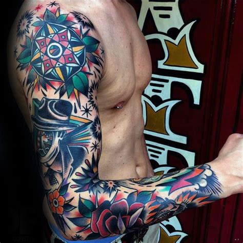 old school tattoo sleeve designs school sleeve tattoos gallery
