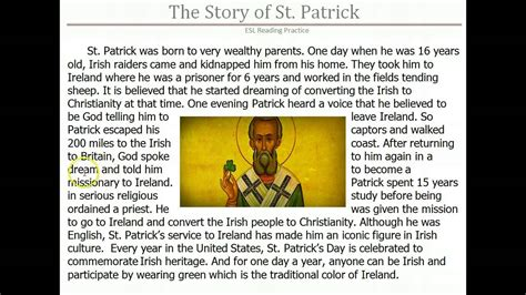 story of s day esl reading the story of st