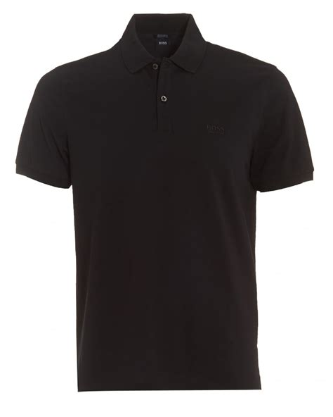 hugo black mens pallas polo regular fit plain black polo shirt