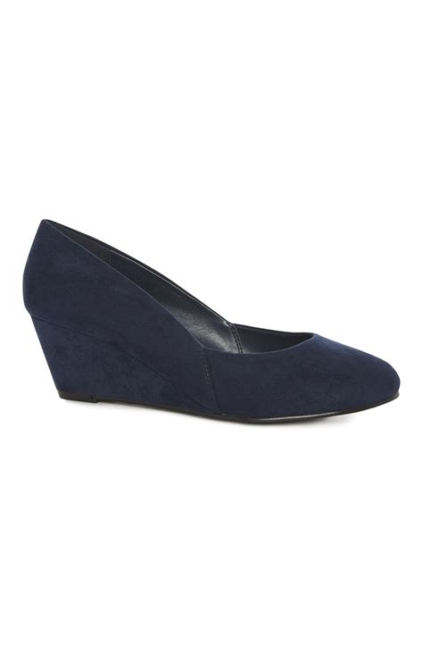 navy imitation suede wide fit wedge for you all are