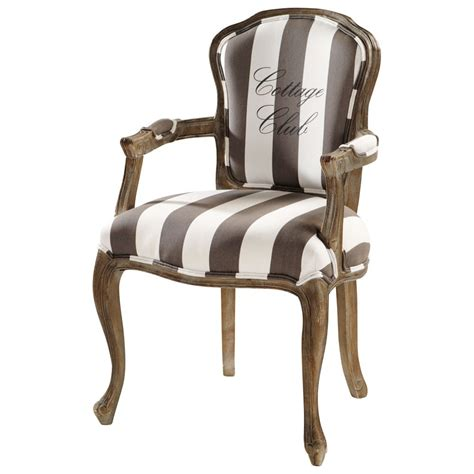 Gray And White Striped Chair Cotton Striped Armchair In Grey And White Cottage Club
