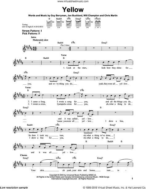 coldplay yellow chords easy coldplay yellow sheet music easy for guitar solo chords