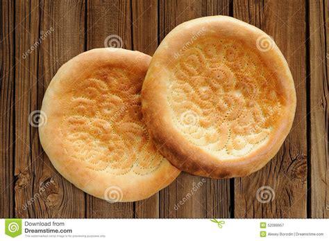 uzbek bread flat traditional uzbek flatbread stock photography