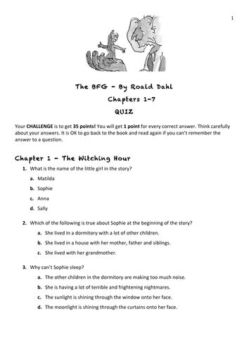 The BFG Comprehension Quiz Chapters 1-7 by leilahall