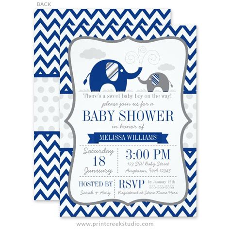 Elephant Baby Boy Shower Invitations by Baby Boy Elephant Shower Invitations Items Similar To Boy