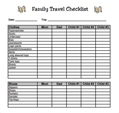 sle travel checklist 8 exle format