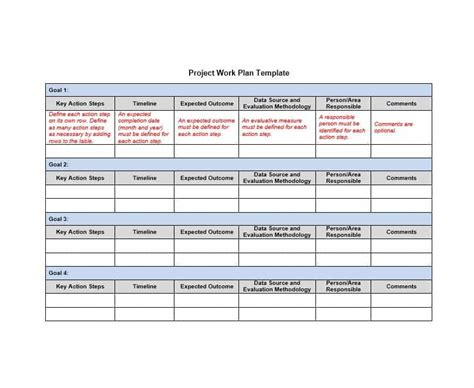 work plan template excel free work plan 40 great templates sles excel word