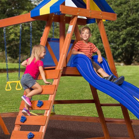 backyard discovery dayton cedar wooden swing set dayton wooden swing set playsets backyard discovery