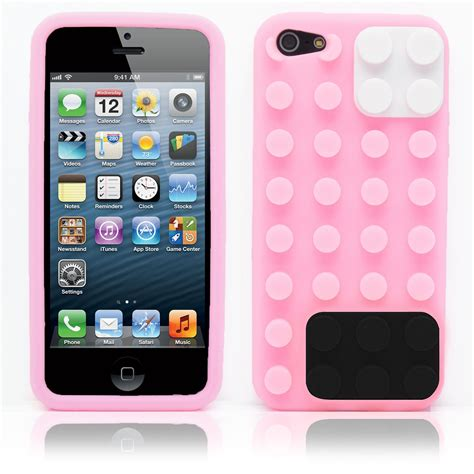 Hello 3d Soft For Iphone 5 Light Pink Free Stiker Antirad 3d building blocks lego brick soft silicone stand cover for iphone 5s 5 ebay