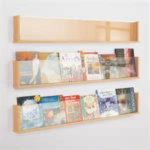 Shelf style wall mounted literature display in wood