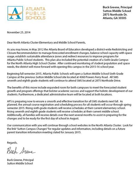 Parent Welcome Letter Grade Sutton Middle School 6th Grade Cus Overview