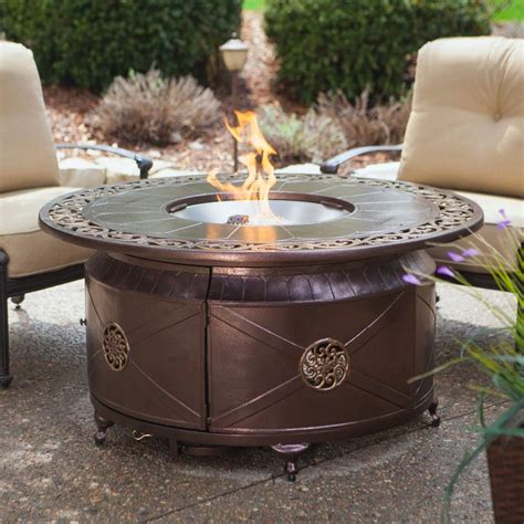 Propane Gas Fire Pit Fire Bowl Round Table Glass Beads Outdoor Propane Firepits