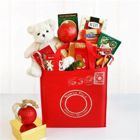 special delivery holiday gift tote at gift baskets etc