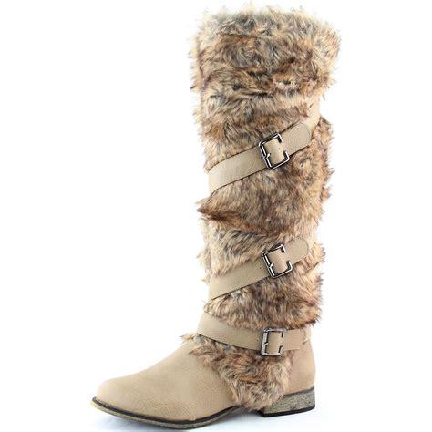 beige faux fur knee high motorcycle boot buckle