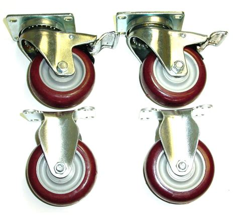 Rigi Maroon set 4 plate casters with 4 quot maroon non marking wheels 2 fixed 2 swivel w brake ebay