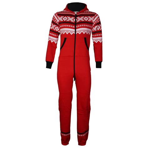 aztec pattern jumpsuit mens red aztec pattern zip up hooded full length cuffed