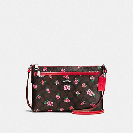 Coach Mini Floral Logo Print Coach F58383 East West Crossbody With Pop Up Pouch In