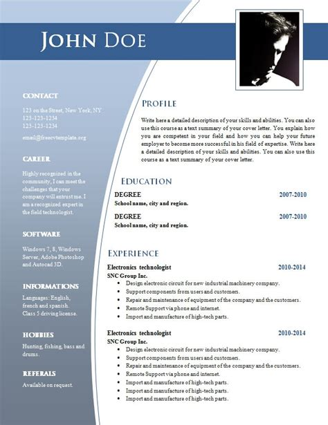 Resume Word Document by Free Word Document Resume Templates Best Resume Gallery