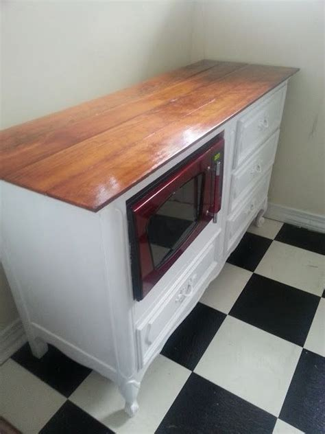 oven microwave kitchen side view of repurposed dresser into kitchen island great way to use