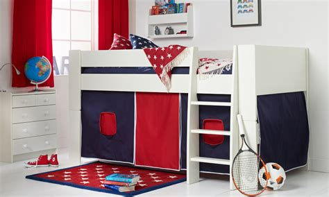 Boys Mid Sleeper by Solitaire White Midsleeper With Navy Tent