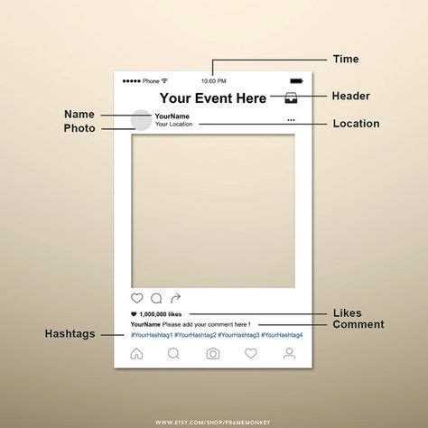 free instagram frame party template in photoshop and instagram photo booth prop instagram frame instagram