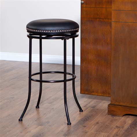 black counter stools backless burkett 26 in backless swivel counter stool black at