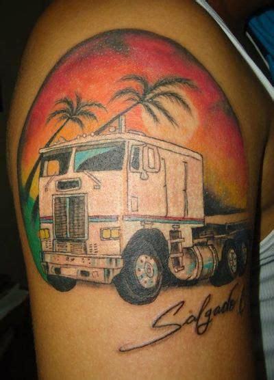 trucker tattoo designs semi truck tattoos truck tattoos