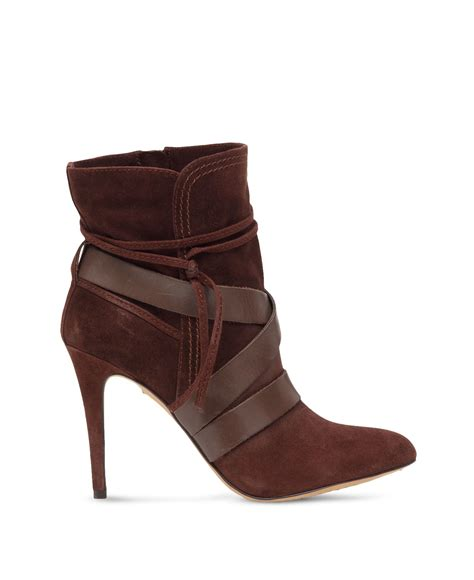 brown high heel booties vince camuto solter ankle wrap high heel booties in brown
