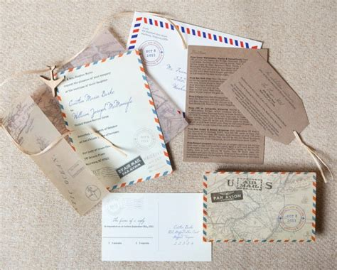 invitation design mail vintage air mail destination wedding invitation mexico