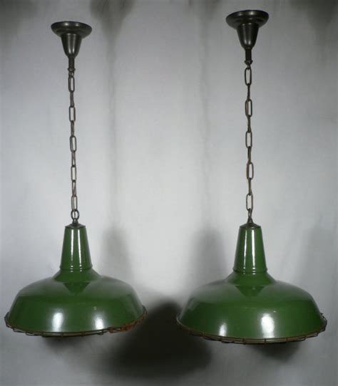 Green Light Fixtures Set Of Four Matching Antique Green Enamel Porcelain Industrial Light Fixtures With Cages For