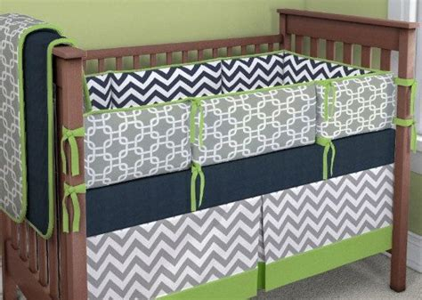 Green And Grey Crib Bedding Lime Green Gray And Navy Crib Bedding