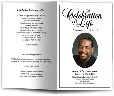 Funeral Program Obituary Templates Memorial Services Memorial Pinterest Funeral Free Memorial Templates