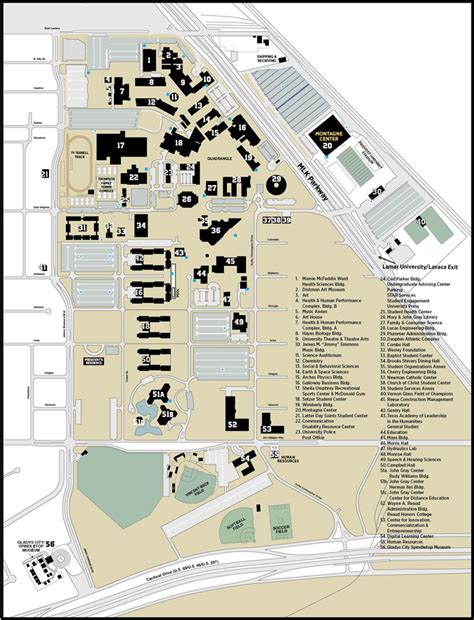 Music City Center Floor Plan by Campus Map Lamar University In Texas Lamar University