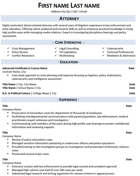 Resume Templates Word Canada Attorney Resume Sle Template