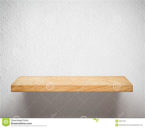 Stock Shelf by Empty Wooden Shelf Or Bookshelf On White Wall Stock Image Image 28317937