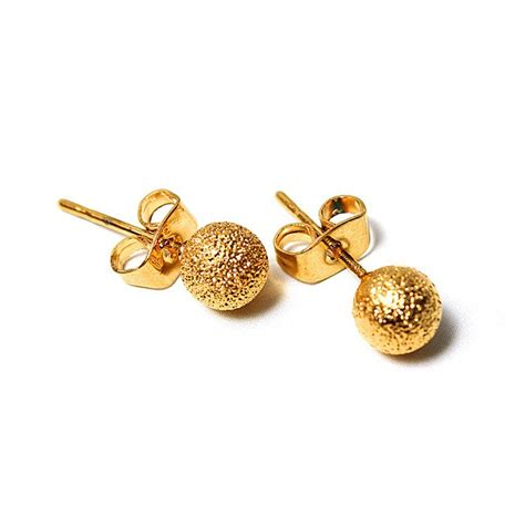Gold Stud Earrings 14k gold plated globular stud earrings jewelry