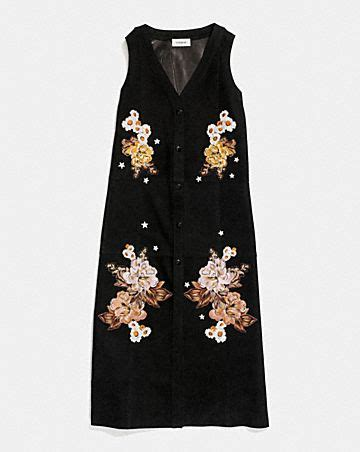 Coach Dress embroidered suede dress