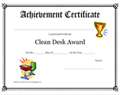 Clean Desk Award by Printable Clean Desk Award Certificate Children S Awards