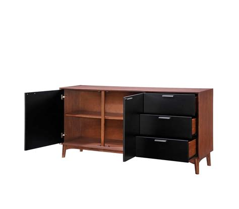 Walnut And Black Modern Buffet Z055 Modern Buffets Stations Black Modern Buffet