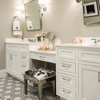 Mirrored Stool With White Seat Pad by Mirrored Vanity Stool