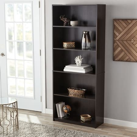 book shelves walmart mainstays 71 quot 5 shelf standard bookcase finishes walmart