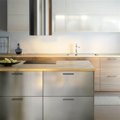 Stainless Steel Kitchen Cabinets Ikea | modern ikea kitchen with wooden worktops and a combination