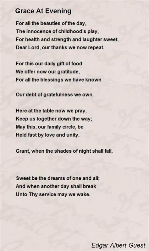 sonnet 122 thy gift thy tables are within my brain poem grace at evening poem by edgar albert guest poem