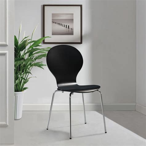6 Black Dining Chairs 6 Stackable Butterfly Dining Chairs Black Vidaxl Co Uk